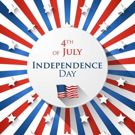 independence day america: 4th of July greeting card with striped spiral background in American colors