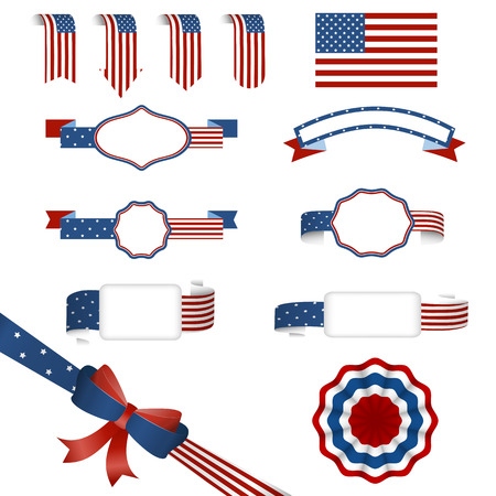 shiny day: big set of banners and badges a ribbon in American colors