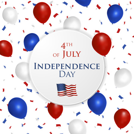 4th of July greeting card with balloons and confetti in colors of United States