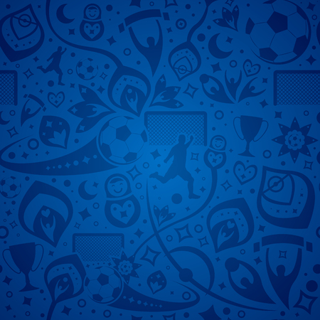 seamless blue soccer background Vectores