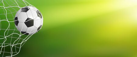 Soccer ball in goal net on green background