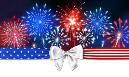 4th of July Background with firework and a bow with stars and stripes Ilustrace