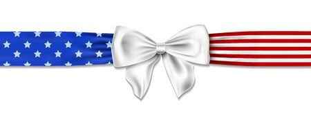american bow with stars and stripes in us colors