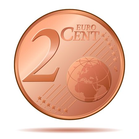 2 Euro Cent Coin Vector Illustration Çizim
