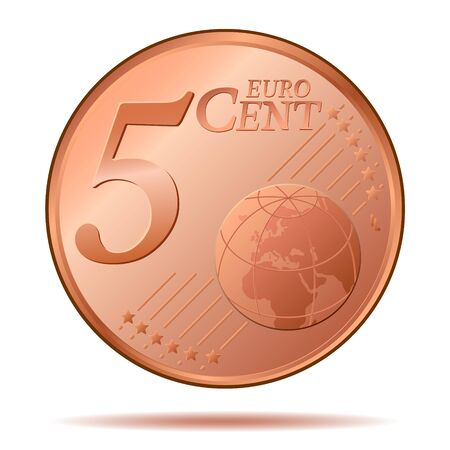 5 Euro Cent Coin Vector Illustration