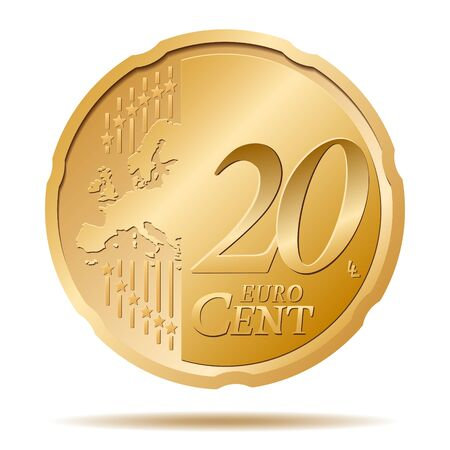 20 Euro Cent Coin Vector Illustration Vectores