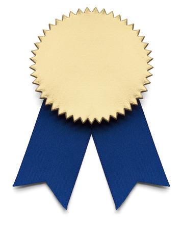 premios: Azul y oro cinta Premio en blanco aislado.