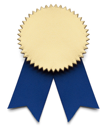 awards: Blue and Gold Award Ribbon on isolated white.