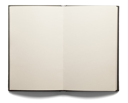 Blank white pages in an open hardcover book isolated on a white background.