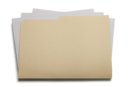 Blank file with papers stuffed inside isolated on a white background.