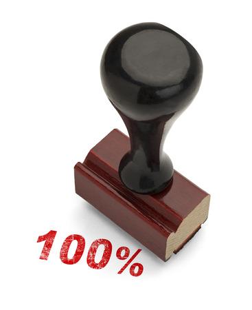 validez: Red 100% Sello con manija de madera Stamper aisladas sobre fondo blanco. Foto de archivo