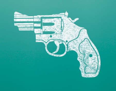 hand gun: Drawing of Hand Gun on Green Chalk Board.