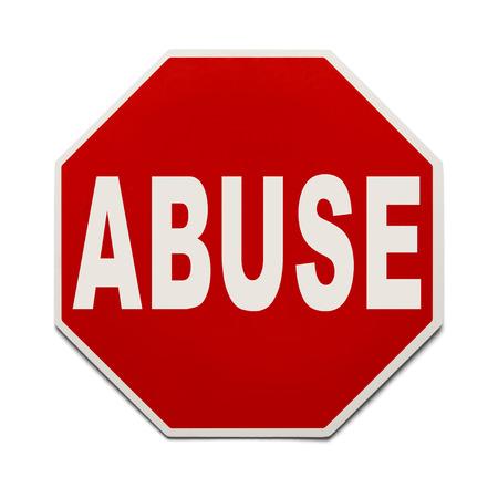 abuso sexual: Rojo Señal de stop con el abuso Palabra aisladas sobre fondo blanco.