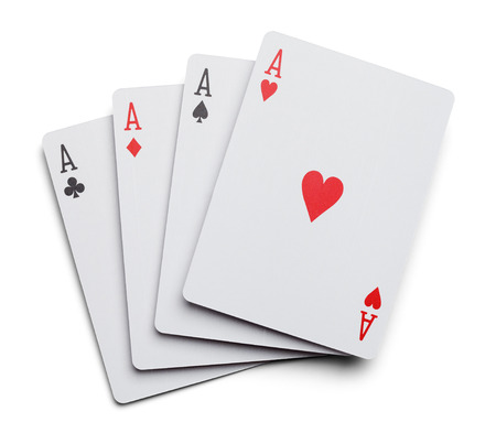Four Aces Playing Cards Isolated On White Background. Stock Photo