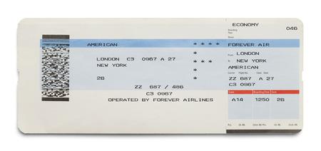 no pase: Azul y blanco Billete de avión Londres Nueva York aislados sobre fondo blanco. Foto de archivo