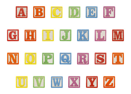 Letter ABC Wood Blocks Isolated on White Background. Imagens
