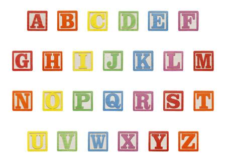 abc blocks: Letter ABC Wood Blocks Isolated on White Background. Stock Photo