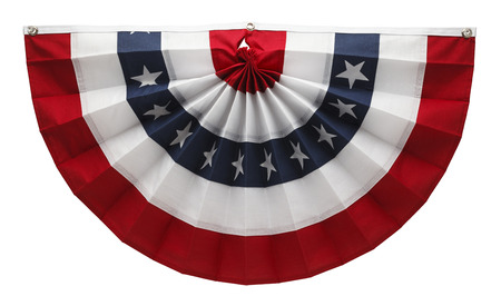 Stars and Stripes USA Pleated Bunting Isolated on White Background. photo