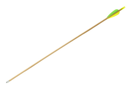 Wood Archery Arrow with Green and Yellow Flething Isolated on White Background. Stock Photo