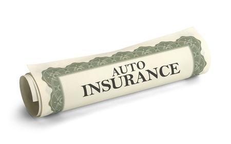 Certificaat van autoverzekering opgerold geïsoleerd op een witte achtergrond.
