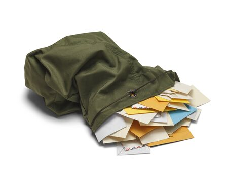 western script: Large Green Mail Bag with Envelopes Spilling Out Isolated on White Background.
