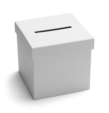 elections: White Card Board Voting Box Isolated on White Background.