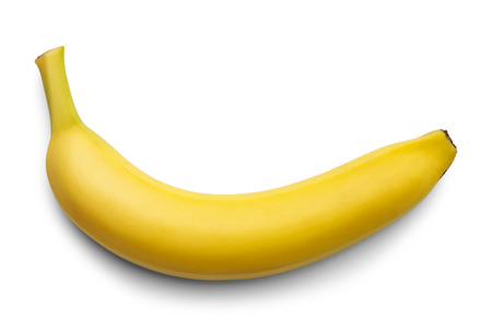 bannana: Single Yellow Bannana Isolated on White Background.