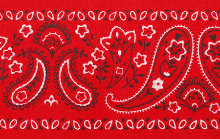 bandana: Red Bandana Close Up with Flower Paisley Design.