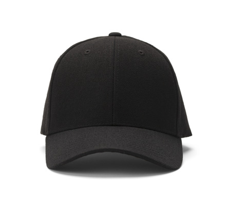 Front View of Black Cap Isolated on White Background. Banque d'images