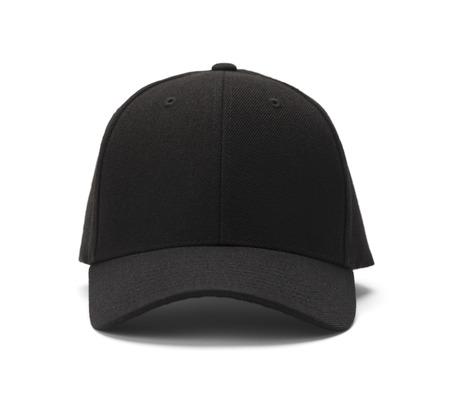 kapelusze: Widok z przodu Black Cap Pojedynczo na białym tle. Zdjęcie Seryjne