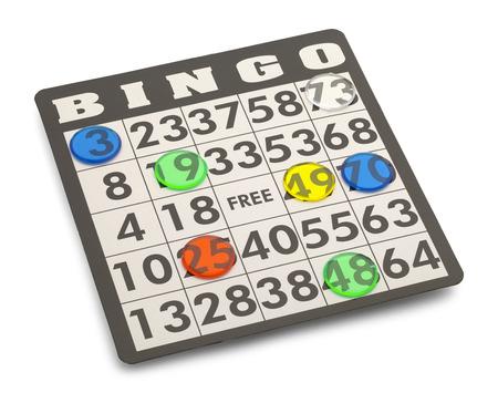 Bingo Card mit Spiel-Stücke auf weißem Hintergrund isoliert. Standard-Bild - 38377593