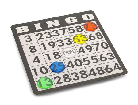 Bingo Card with Winning Chips Isolated on White Background.