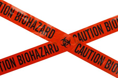 roped off: Orange and Black Caution Biohazard Tape. Isolated on White Background. Stock Photo