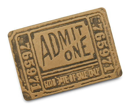 admit one: Large Black Old Admit One Ticket Isolated on White Background.