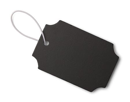 白い背景に分離されたコピー スペースを持つ黒いスレート タグ。 写真素材