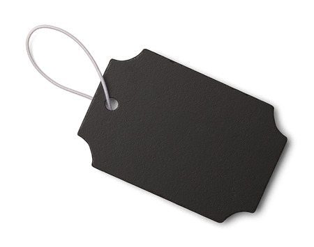Black Slate Tag with Copy Space Isolated on White Background.