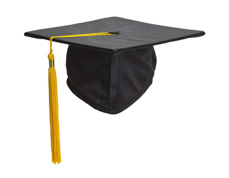 Graduation Cap and Gold Tassel Isolated on White Background. Archivio Fotografico