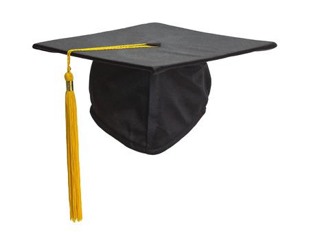 Graduation Cap and Gold Tassel Isolated on White Background. Standard-Bild