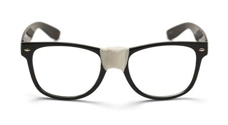 メガネ テープ正面、白い背景で隔離。