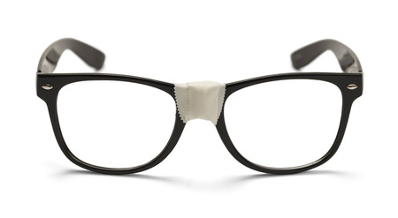 nerd glasses: Eye Glasses with Tape Front View, Isolated on White Background.
