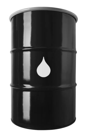 55 Gallon Black Oil Drum With Drop Symbol Isolated On White Stock