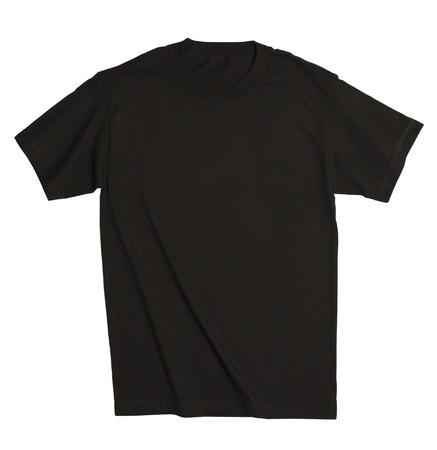 playera negra: Camisa de algodón con copia espacio aislado en el fondo blanco. Foto de archivo