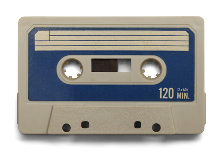 Old Cassette Tape With Copy Space Isolated on White Background.