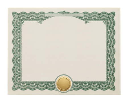 seal stamper: Award Degree With Copy Space and Gold Seal Isolated on White Background.