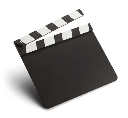 Empty Movie Clap Board Isolated on White Background.