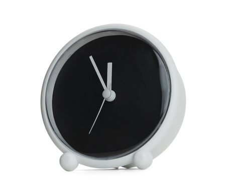 12 oclock: Clock with Copy Space Isolated on White Background. Stock Photo