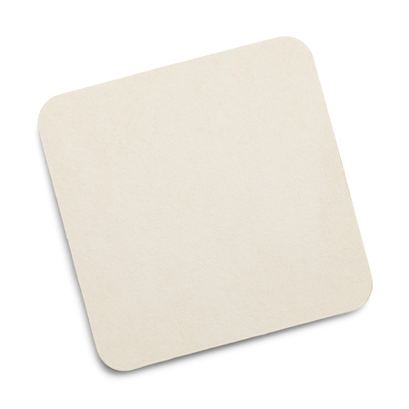 porous: Square White Drink Coaster with Copy Space Isolated on White Background.