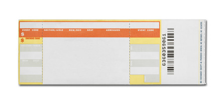 raffle ticket: Orange and Yellow Event Ticket Isolated on White Background.