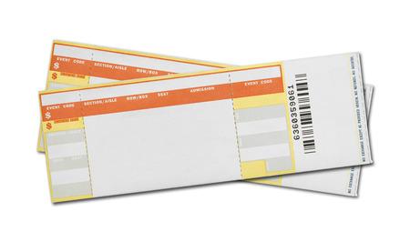 빈 콘서트 티켓의 쌍 흰색 배경에 고립입니다. 스톡 콘텐츠