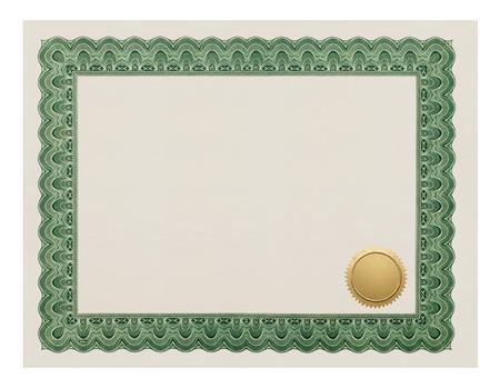 grado: Grado Certificado con Sello de Oro Aislado en el fondo blanco.